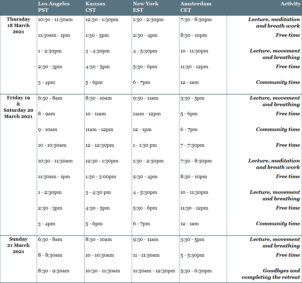 Schedule restorative retreat and time zones